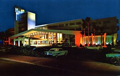Monmartre Miami Beach FL (Edge and corner wear) Tags: ford sign architecture modern vintage lights hotel design pc inn neon bright florida turquoise postcard parking tail modernism lot motel convertible mimo cadillac lodge motor fl thunderbird tonight frontline fins tbird midcentury
