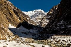 Approaching base camp (James . Douglas) Tags: nepal shadow foothills mountains trekking trek canon river walking evening hiking ominous glacier mountaineering abc nepalese himalaya annapurna himalayas 6d sanctury