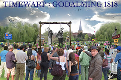 Timewarp : Godalming 1818 (TietjenUK) Tags: church strange balloons fun weird 3d crowd surreal surrey spire odd fantasy photomontage murder hanging jigsaw parkingmeter bandstand weepingwillow willows morrisdancers godalming brastrap timewarp gallows helterskelter execution peculiar paydisplay lammas parricide fittleworth stpeterstpaul reliantregal tietjenuk kenhatherley chennellchalcraft
