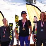 Meg Cumming (1), Tyra Collombin (2) and Courtney Hoffos (3).  U18 SL podium Red Mountain Keurig Cup PHOTO CREDIT: Derek Trussler
