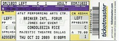 October 22, 2009, Condoleezza Rice, Brinker International Forum, AT&T Performing Arts Center, Majestic Theatre, Dallas, Texas - Ticket Stub (Joe Merchant) Tags: 22 dallas october texas rice theatre forum performing arts ticket center international majestic 2009 stub att condoleezza brinker