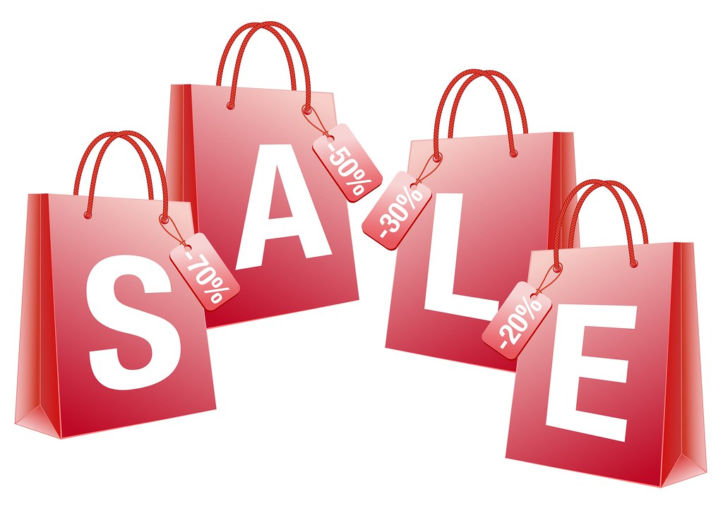 sale, red shopping bags, vector
