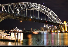 View from Milsons Point @ Night, Sydney, Australia (JH_1982) Tags: new travel bridge light reflection travelling tourism water colors skyline wales night canon dark point boats puente eos evening noche boat opera colours darkness nacht harbour jetty south sydney australia landmark tourist ponte nsw lit australien traveling tamron nuit notte baa milsons australie 18mm baha        cu 270mm  60d  cng      sdney