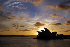 Silhouette of Sydney Opera House at sunrise