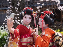 Kyoto 2015 (hunbille) Tags: two japan cherry kyoto blossom blossoms maiko sakura gion shooter dori hanami shirakawa selfie higashiyama higashiyamadistrict a3b shirakawadori