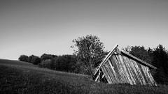 Schräglage (Erich Hochstöger) Tags: old bw landscape austria österreich alt hütte schuppen panasonic hut sw landschaft niederösterreich hdr scheune loweraustria mostviertel fz150