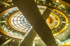 Cross Eye (Brian Travelling) Tags: light england eye architecture liverpool lights design cross pentax interior shapes staircase pillars oval liverpoolcentrallibrary pentaxdal pentaxkr