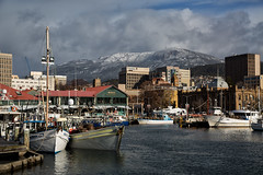 antarctic blast (keith midson) Tags: city winter snow cold port boats windy wharf tasmania hobart snowfall mtwellington mures kunanyi