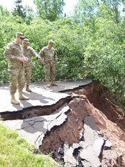 Michigan National Guard (The National Guard) Tags: michigan mi ming adjutant general road inspect heavy rains washed out response domestic mission repair operations