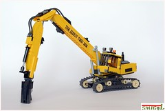 Demolition excavator (Smigol_) Tags: demolition excavator moc smigol wheels hevy lego caterpillar cat shear hyundai large volvo komatsu koparka budowa wyburzenie burzenie