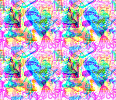 Big Science Textile Design/Chickoteria 2016 (chickoteria) Tags: collage textile rgb bigscience spoonflower chickoteria
