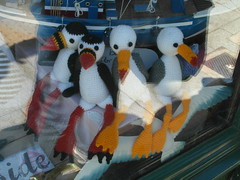 Puffins And Gulls (Munki Munki) Tags: wool birds gulls yarn whitby knitted windowdisplay puffins bobbins nyorks