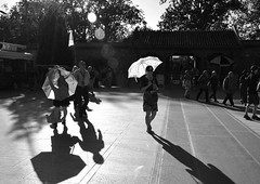 Radiance (Andy WXx2009) Tags: blackandwhite monochrome streetphotography beijing candid shadows sunlight parasol urban asia people china walking silouhettes trees city street style umbrella artistic light