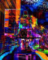 """Tokyo Towers at Night"" (Paul Ewing) Tags: digitalart drawing fingerpainting abstract abstraction montage photomontage imagination imaginary urban city citylights nightlights avantgarde    night"