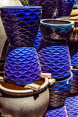 Blue pots (Thad Zajdowicz) Tags: pots clay color blue garden store nursery outdoor outside daylight bright vivid vibrant light shadow texture pattern zajdowicz pasadena california dslr digital canon eos 5dmarkiii lightroom availablelight primelens 50mm ef50mmf12lusm