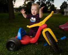 DSC_1345 (vicrattlehead5150) Tags: blonde boy big wheel back yard blue eyes toddler stripes red yellow cute fun summer nikon d810 2485 strobist mokena illinois