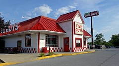 Five Guys in Winchester, Virginia (SchuminWeb) Tags: schuminweb ben schumin web july 2016 virginia va five guys burgers fries fiveguys fiveguysburgersandfries winchester route 7 state va7 berryville avenue ave captain ds captainds converted conversion stores store repurposed reused recycled fast food restaurant restaurants fastfood red white apple blossom diner sign signs signage appleblossomdiner parking lot lots fiveguysburgersfries building buildings architecture shoneys