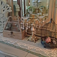 Pretty bling... (Bellafaye Garden) Tags: chandelier woodenbox terrarium crystal birdcage creativeworkshop workshop shabbychic homedecor