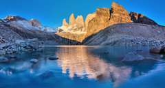 Torres del Paine at sunrise I (Vaclav Klicnik) Tags: 2016 chile dovolen hdrpanorama miradortorres np patagonie torres torresdelpaine trekking valleascencio wcircuit zima jinamerika torresdepaine regindemagallanesydelaan regindemagallanesydelaantrticachilena cl