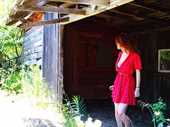 Known or unknown? (tankgirlrs) Tags: limitless womaninred selfportrait ventureintotheunknown unknown bayarea ca pescadero abandonedplaces abandoned reddress girl woman redhead 24mml 7d canon