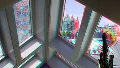 Kubus-woning Rotterdam 3D (wim hoppenbrouwers) Tags: anaglyph stereo redcyan kubuswoning rotterdam 3d cubichouse blom blaak window