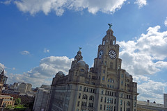View from the Liverpool Sky Swing (Lydie's) Tags: liverbuilding clock liverpool merseyside heights clouds sky dutchtilt