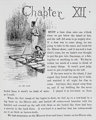 """""""Jim and Huck on the raft."""" Art by E. W. Kemble from """"Adventures of Huckleberry Finn"""" by Mark Twain (1885). First U.S. edition. (lhboudreau) Tags: illustration mississippi book etching drawing illustrations drawings books rafting mississippiriver blackman slavery webster slave marktwain bookart 1885 hardcover etchings samuelclemens huckfinn kemble firstedition vintagebook huckleberryfinn chapterheading hardcovers classicfiction charleswebster hardcoverbooks chapter12 hardcoverbook ontheraft adventuresofhuckleberryfinn classicstory runawayslave charleslwebster fugitiveslave classictale negroslave ewkemble firstamericanedition jimandhuck firstusedition chapterxii slavejim charleslwebsterco charleslwebsterandcompany"""
