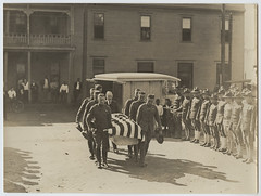 [Pallbearers Carrying Casket of U.S. Military Aviator from the Second Provisional Wing of the Air Service] (SMU Central University Libraries) Tags: aviation wwi worldwari worldwarone soldiers ww1 greatwar firstworldwar troops coffins worldwar1 1stworldwar worldwar19141918 hearses fighterpilots rppc ellingtonfield americantroops funeralprocessions militaryceremonies realphotographicpostcards militaryairpilots aviationsectionsignalcorpsusarmy secondprovisionalwingoftheairservice