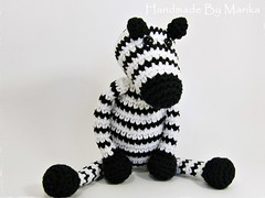 Zebra toy (muustare) Tags: baby white black cute soft handmade crochet yarn softie cotton zebra organic etsy amigurumi crocheted striped teether rattle babytoy babyrattle bymarika handmadebymarika
