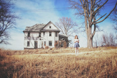 (yyellowbird) Tags: house selfportrait abandoned girl illinois exterior cari