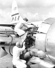 Pan American airplane engine maintenance - Miami (State Library and Archives of Florida) Tags: airplane florida miami aircraft aviation airplanes motors engines boeing airlines panam mechanics airliners paa panamerican pw prattwhitney pawa stratocruiser b377 panamericanworldairways panamericanairways r4360 aircraftmaintenance boeingstratocruiser waspmajor boeing377 prattwhitneyr4360waspmajor boeing377stratocruiser prattwhitneyr4360 prattwhitneywaspmajor r4360waspmajor boeing3771026stratocruiser boeingmodel377stratocruiser boeingmodel377 pwr4360 boeing3771026 r4360tsb
