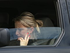 Blond stuck in traffic (Bobby Angel) Tags: chicago color pretty blond unposed frommycar drivebyshootings streetphotographer canoncamera redfingernails candidpictures robertfrankgabriel akabobbyangel