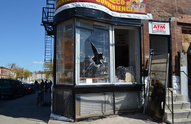 BALTIMORE RIOT - Looted Store - W. North and N. Fulton Avenues -  April 28, 2015