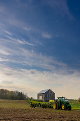 Tractor and Barn (Photographer Artist) Tags: tractor beautiful field grass weather clouds barn fence landscape photography spring midwest farm country farming indiana farmland heston agriculture michaelhuddleston hestonphotography