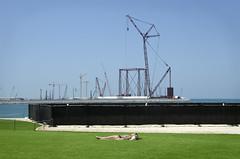 Dubai 2015 (craylton) Tags: ocean sea beach girl grass marina dubai crane bikini jumeira sunbather sunbathe