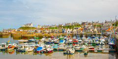 Findochty Marina (williamrandle) Tags: sea water stone wall marina reflections landscape boats seaside nikon holidays village waterfront harbour outdoor jetty shore northsea colourful findochty pleasurecraft 2016 buoyant d7100 tamron2470f28vc