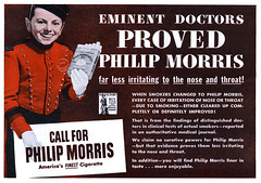 Eminent doctors proved Philip Morris far less irritating to the nose and throat! (Tom Simpson) Tags: advertising cigarette ad advertisement 1940s doctor tobacco 1944 philipmorris vintagead vintageads