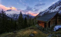 The last light of day (d2francis2) Tags: trees landscape sunset mountain woods alps cabin dusk hut alpine france montblanc chamonix aiguillesdargentiere argentiere laiguillettesdespossettes rayapro sony a7r snow peak cloud spring