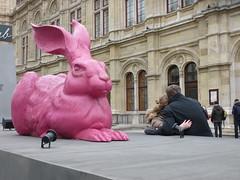 Pink Bunny in the Picture (Sarah A Stewart) Tags: streetphotography rabbit hare selfie metaphotography wienerstaatsoper vienna austria wien publicart statue
