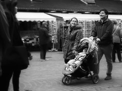 Heidelberg Streets, Happy Parents (1mpl) Tags: bw monochrome germany streetphotography heidelberg travelphotography niksilverefexpro olympusomdem1