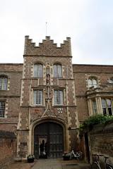 Entrance (My photos live here) Tags: door cambridge england tower college canon eos gate university jesus entrance flagpole cambridgeshire 1000d