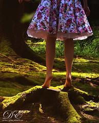 Bare feet on a tree stump (DougalEgan) Tags: girl woman legs pink green moss mousse forest forêt jambes pieds foot bare naked nature outdoor wife ankle tiptoe tamronspaf70200mmf28dildifmacro pies desnudos nus barefoot