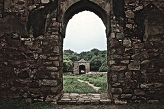 The ruins of Delhi (theloonybard) Tags: nature travel traveller photography architecture abstract art india color minimal history monument building black white green tree window wall stone adventure arch door
