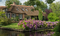 Una de las casas.... - Giethoorn (bervaz) Tags: holland holanda netherland nederland formatocompleto fullframe flores flowers paisesbajos verde green