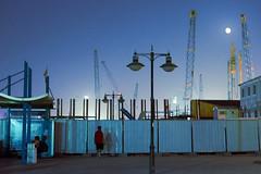 _D719209 (rabbiv) Tags: moon night lights construction cranes nikkon creekside d7100 nikkor35mmf18g