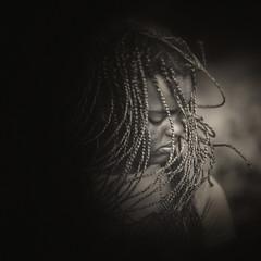 Hair Flip (mckenziemedia) Tags: portrait hair flip square girl woman blackandwhite monochrome face lowkey canon 5d mark iii 85mm f12