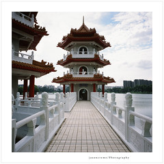 Twin Pagodas (jasoncremephotography) Tags: 120 6x6 film analog mediumformat pagoda singapore fuji fujifilm chinesegardens analogue fujichrome provia e6 singapura rdpiii rdp3 filmisnotdead lioncity istillshootfilm gf670w