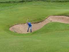 Royal Portrush Dunluce #12 x Ian in deep left greenside bunker 487 (tewiespix) Tags: ireland golfcourse northernireland portrush golfclub dunluce royalportrush