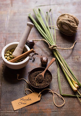 Ingredients for Masala Chai (Chandrima Sarkar) Tags: ingredients stilllife foodphotography foodstyling tea chai spices lemongrass