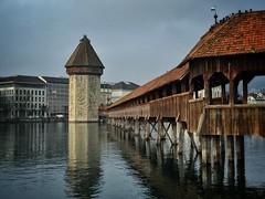 Chapel Bridge, Lucerne, Switzerland (jurassicjay) Tags: city crossing architecture european oldtown luzern kapellbrcke europe river bridge chapelbridge swiss switzerland lucerne